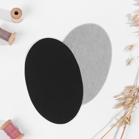 Заплатки для одежды, 15,5 × 9,5 см, термоклеевые, пара, цвет чёрный