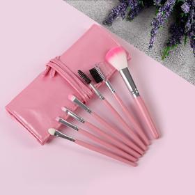 Набор кистей для макияжа, 7 предметов, чехол на завязках, цвет розовый