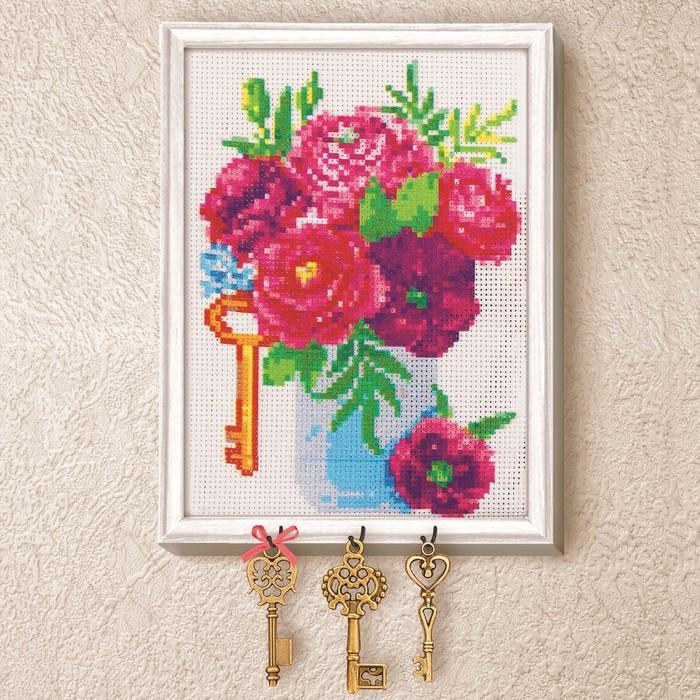 """Вышивка крестиком на ключнице """"Пионы"""", 21 х 15 см"""