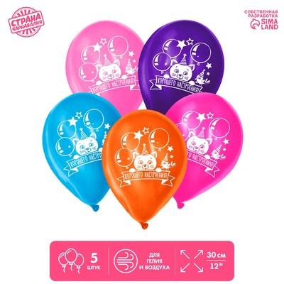 """Шар воздушный 12"""" """"День рождения"""", котёнок, 1-сторонний, набор 5 шт., МИКС"""