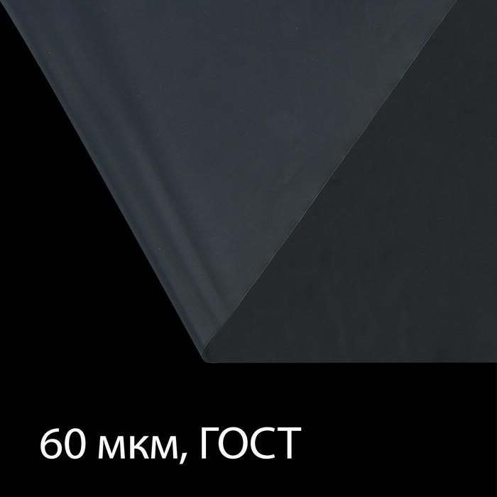 Плёнка полиэтиленовая, толщина 60 мкм, 3 × 10 м, рукав (1,5 м × 2), прозрачная, 1 сорт, ГОСТ 10354-82
