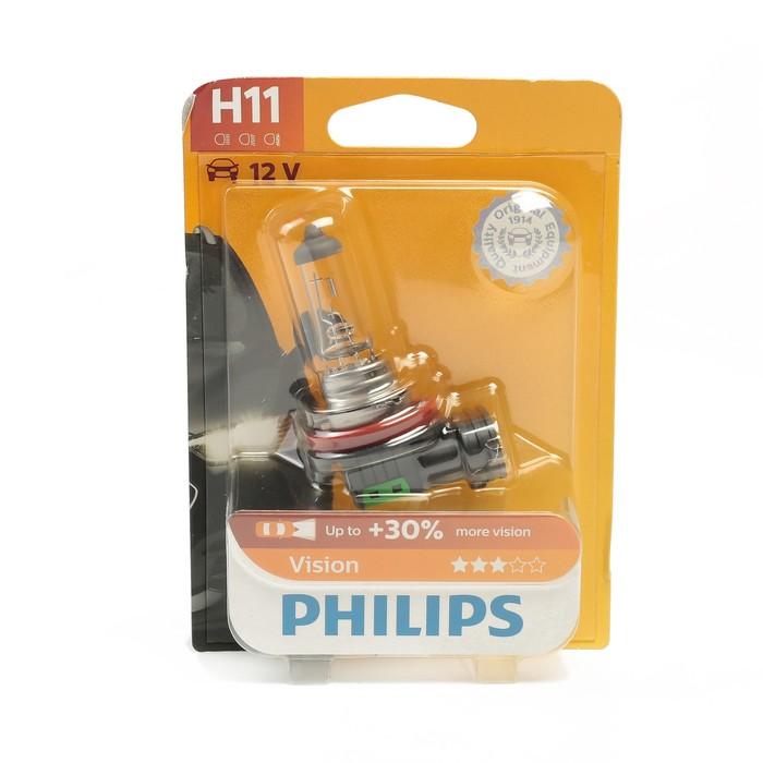 Автолампа PHILIPS Vision +30%, H11 (PK22s), 12 В, 55 Вт, блистер, 12362 PR B1
