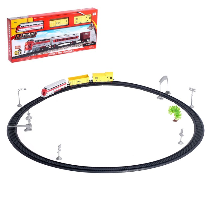 Железная дорога «Грузовой локомотив», со световыми и звуковыми эффектами, длина пути 2,92 м, цвета МИКС