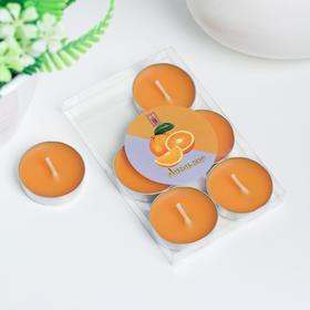 Свечи восковые в гильзе (набор 6 шт), аромат апельсин Ош