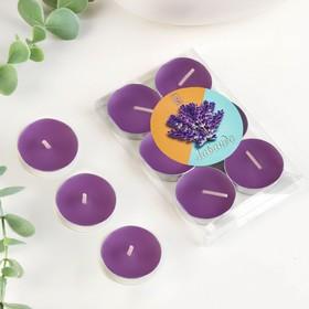 Свечи восковые в гильзе (набор 6 шт), аромат лаванда Ош