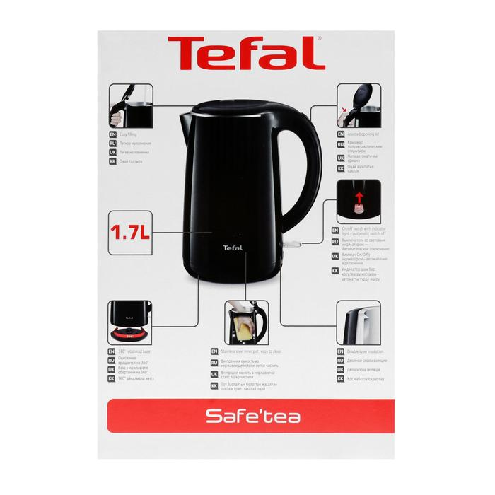 Чайник электрический Tefal KO2608, металл, 1.7 л, 1800 Вт, черный