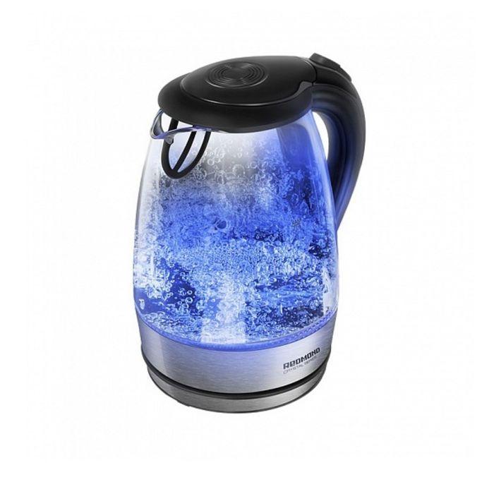 Чайник электрический Redmond RK-G176-E, 2200 Вт, 1.7 л, подсветка, серебристый