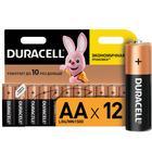 Батарейка алкалиновая Duracell Basic, AA, LR6-12BL, 1.5В, блистер, 12 шт. - Фото 1