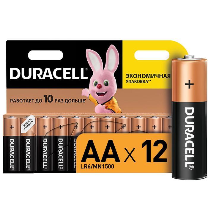 Батарейка алкалиновая Duracell Basic, AA, LR6-12BL, 1.5В, блистер, 12 шт.