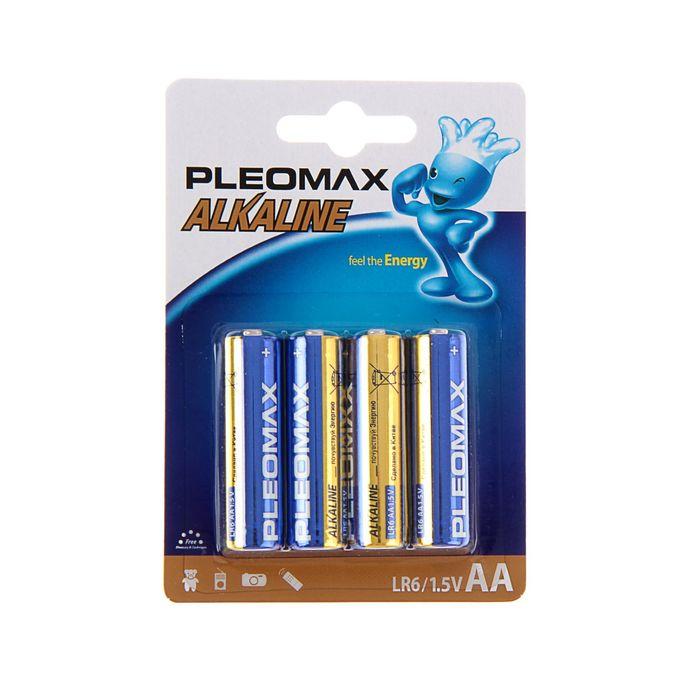 Батарейка алкалиновая Pleomax, AA, LR6-4BL, 1.5В, блистер, 4 шт.