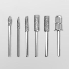 Фрезы с алмазным напылением, с насадками для маникюра, в органайзере, 12 шт