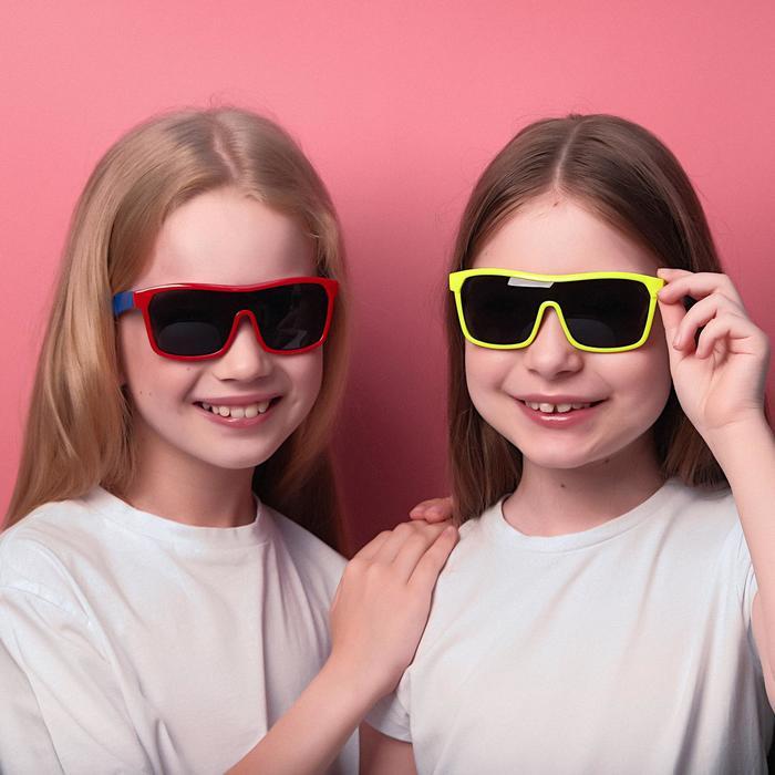 Очки солнцезащитные детские Спорт, оправа двухцветная, МИКС, линзы тёмные, 13  12.5  5.5 см