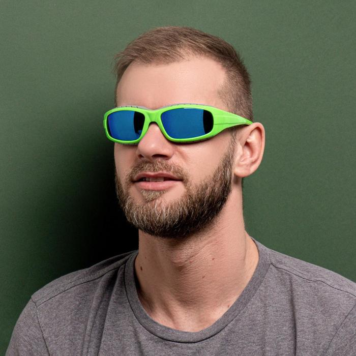 Очки спортивные, линзы голубые, оправа модная, дужки зелёные, uv 400, микс, 17х15х4.5 см