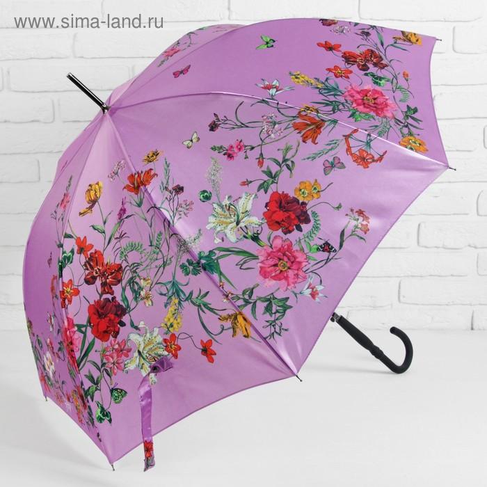 Зонт - трость полуавтоматический «Нежность», 8 спиц, R = 48 см, цвет розовый
