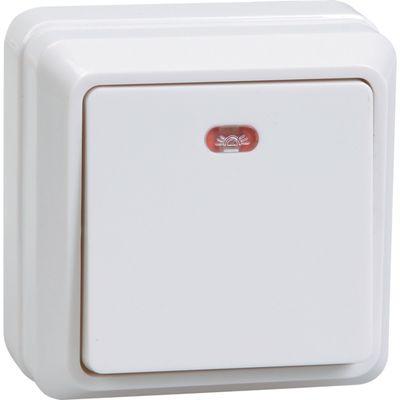 "Выключатель IEK ""ОКТАВА"" EVO11-K01-10-DC, 1 кл., ОП, индик., 10А, IP20, бел., ВС20-1-1-ОБ"