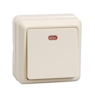 """Выключатель IEK """"ОКТАВА"""" EVO11-K33-10-DC, 1 кл., ОП, индик., 10А, IP20, крем., ВС20-1-1-Окм   259029"""