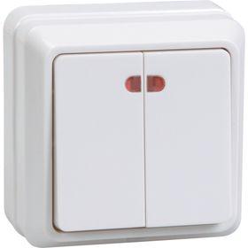 "Выключатель IEK ""ОКТАВА"" EVO21-K01-10-DC, 2 кл., ОП, индик., 10А, IP20, бел., ВС20-2-1-ОБ"