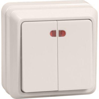 """Выключатель IEK """"ОКТАВА"""" EVO21-K33-10-DC, 2 кл., ОП, индик., 10А, IP20, крем., ВС20-2-1-Окм   259031"""