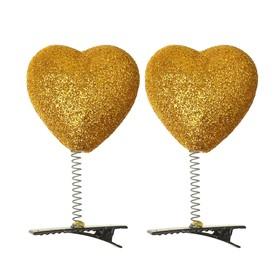 Карнавальный зажим «Сердечко», блеск, цвет золотой