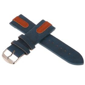 Ремешок для часов, 24мм, экокожа, синий под джинсу с коричневыми вставками, 22.5 см Ош