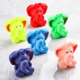 Резиновая игрушка для игры в ванной «Слоник», с пищалкой, цвета МИКС