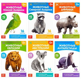 Книги набор «Карточки Домана. Животные материков», 6 шт. по 20 стр.