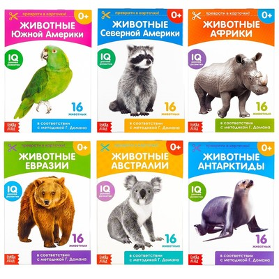 Книги набор «Карточки Домана. Животные материков», 6 шт. по 20 стр. - Фото 1