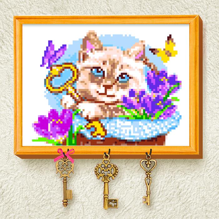 "Вышивка крестиком на ключнице ""Кот"", 21 х 15 см"