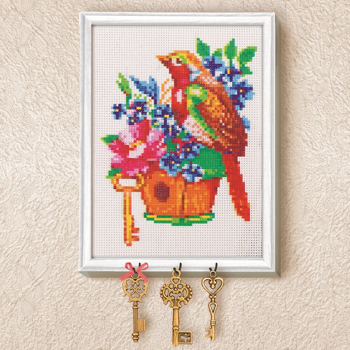 "Вышивка крестиком на ключнице ""Птичка"", 21 х 15 см"