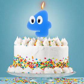 Свеча в торт цифра 4 'С днем рождения, малыш' Ош