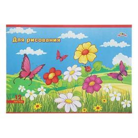 Тетрадь для рисования A4, 12 листов на скрепке «Цветы и бабочки», бумажная обложка, блок 80 г/м² Ош
