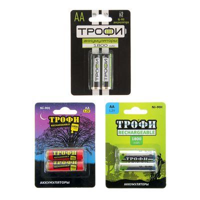 """Аккумулятор """"Трофи"""", Ni-Mh, AA, HR6-2BL, 1.2В, 1800 мАч, блистер, 2 шт."""