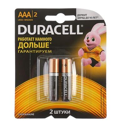 Батарейка алкалиновая Duracell Basic, AAA, LR03-2BL, 1.5В, блистер, 2 шт.