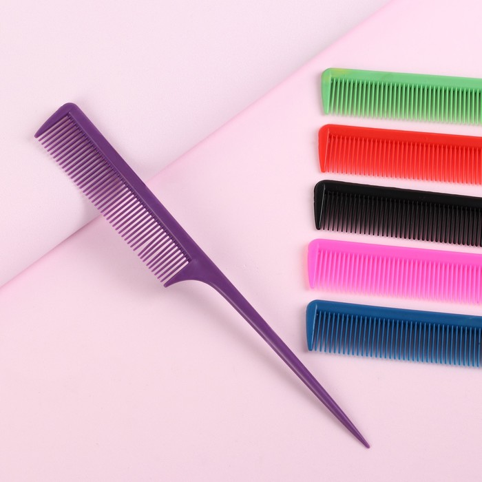 Расчёска с хвостиком, 21,5 2,5 см, цвет МИКС