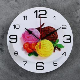 Часы настенные круглые 'Мороженое с клубникой', 24 см микс Ош