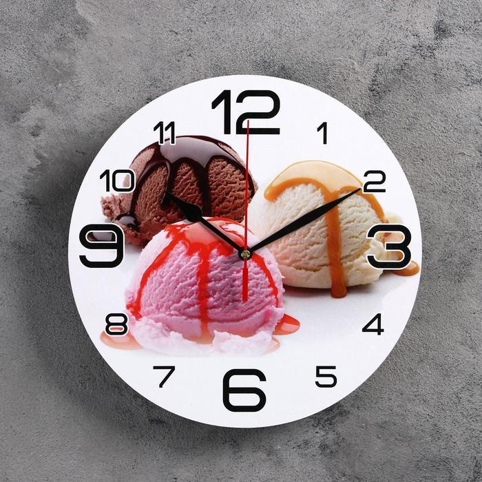 Часы настенные круглые Мороженое, 24 см микс