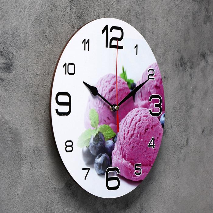 Часы настенные, серия Кухня, Черничное мороженое, 24 см, микс