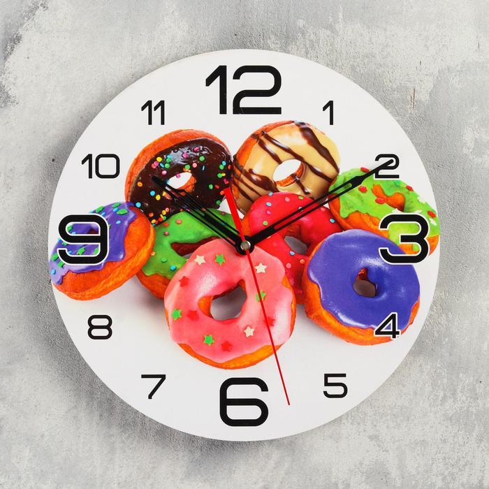 Часы настенные круглые Пончики, 24 см микс