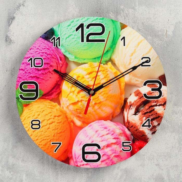 Часы настенные круглые Мороженое радуга, 24 см микс