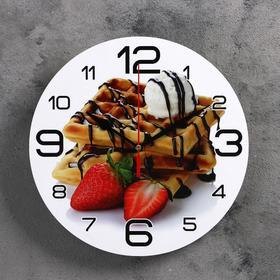 Часы настенные, серия: Кухня, 'Венские вафли и клубника', 24 см Ош