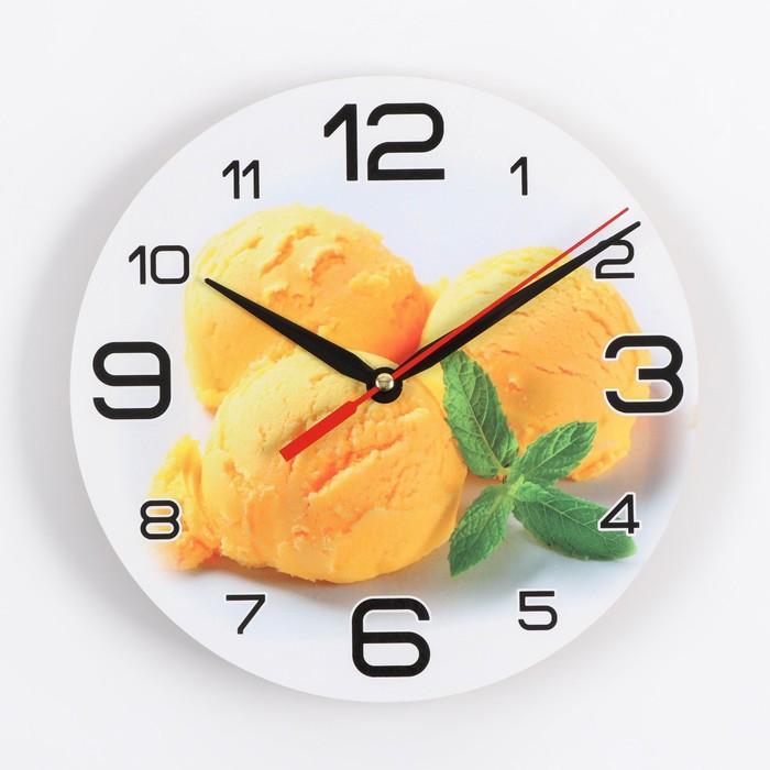 Часы настенные, серия Кухня, Мороженое с мятой, 24 см, стрелки микс