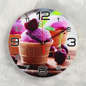 Часы настенные круглые 'Мороженое и черешня', 24 см микс Ош