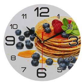 Часы настенные, серия: Кухня, 'Панкейк с черникой', 24 см Ош
