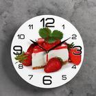 """Часы настенные, серия: Кухня, """"Торт с клубникой"""", 24  см, микс"""