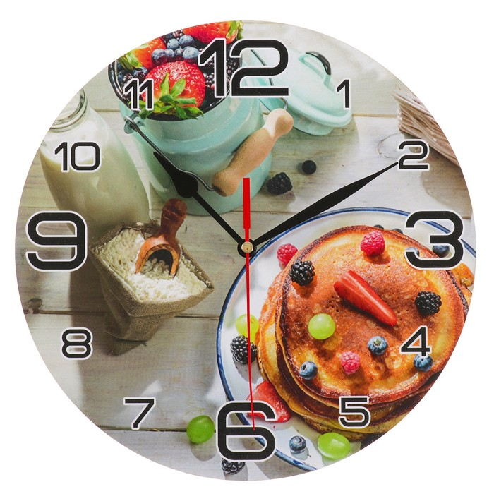 Часы настенные, серия Кухня, Панкейк с ягодами, 24 см