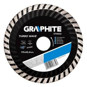 Диск отрезной алмазный GRAPHITE 57H632, turbo wave, по бетону, 115 х 22.2 мм