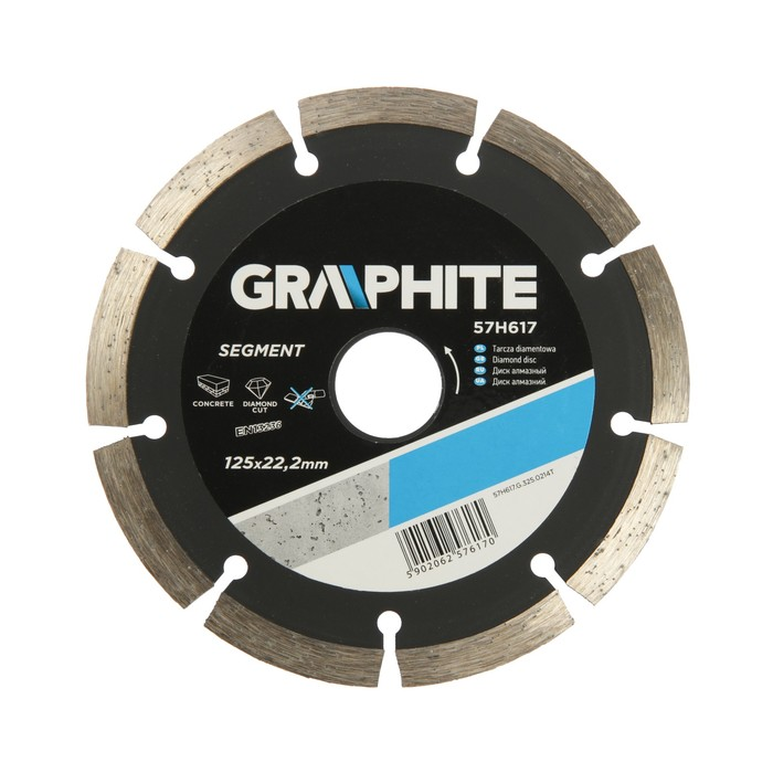 Диск алмазный сегментный GRAPHITE 57H617, универсальный, 125х22.2 мм, толщина 2.2 мм
