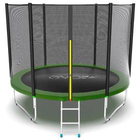 Батут EVO JUMP External 8 ft, d=244 см, с внешней сеткой и лестницей, зелёный Ош