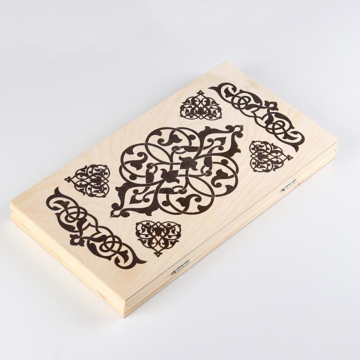 Нарды Узор, деревянная доска 40х40 см, с полем для игры в шашки