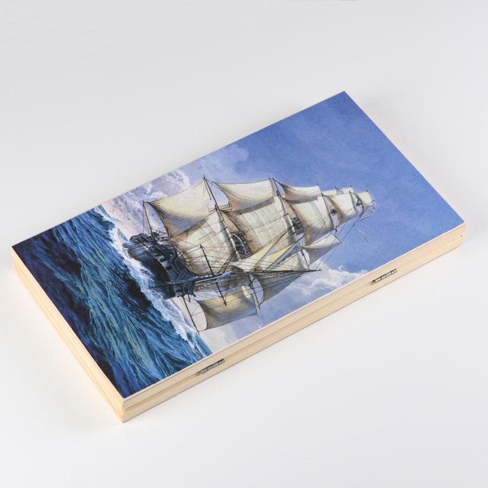Нарды Парусник, деревянная доска 40х40 см, с полем для игры в шашки